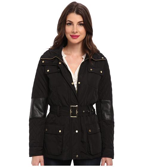Calvin Klein - Quilted Jacket w/ Belt (Black) Women's Coat