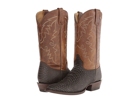 Roper - Embossed Exotic R Toe Boot (Brown Printed Python) Cowboy Boots