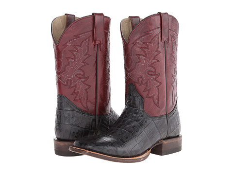 Roper - Embossed Exotic Square Toe Boot (Black Embossed Caiman Belly) Cowboy Boots