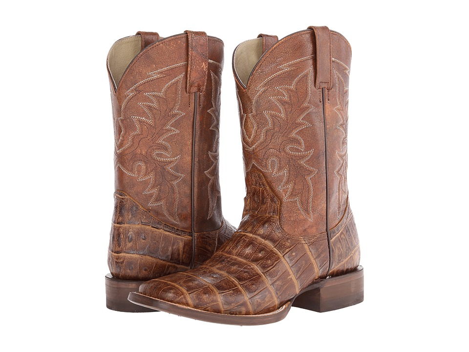 Roper - Embossed Exotic Square Toe Boot (Brown Embossed Caiman Belly) Cowboy Boots