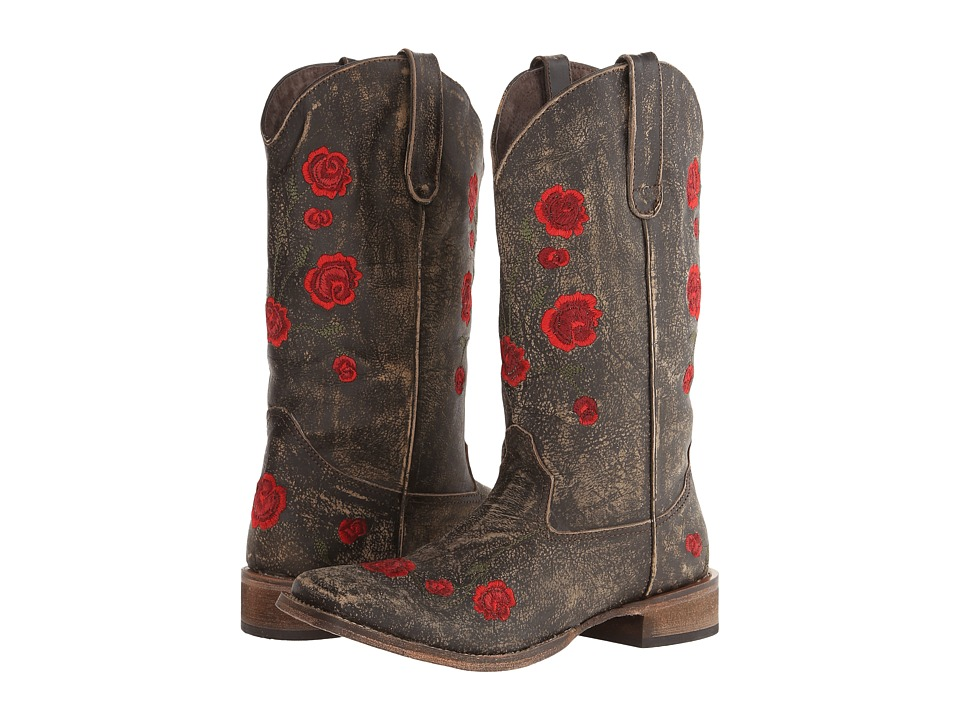 Roper - Brush Off Flower Embroidered Square Toe Boot (Brown/Red) Cowboy Boots
