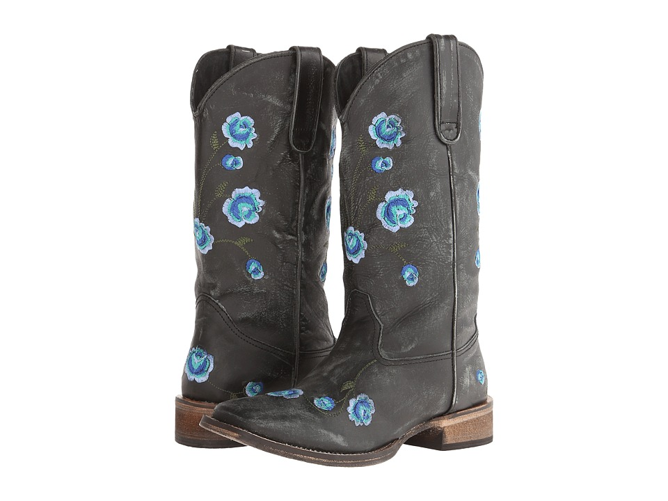 Roper - Brush Off Flower Embroidered Square Toe Boot (Black/Blue) Cowboy Boots