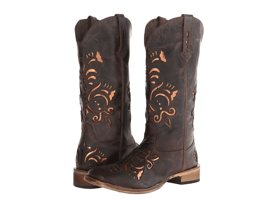 Roper - Laser Cut Metallic Underlay Boot (Brown/Bronze) Cowboy Boots