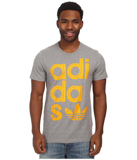 adidas Originals - Wrap Logo Tee (Core Heather/Collegiate Gold) Men's T Shirt