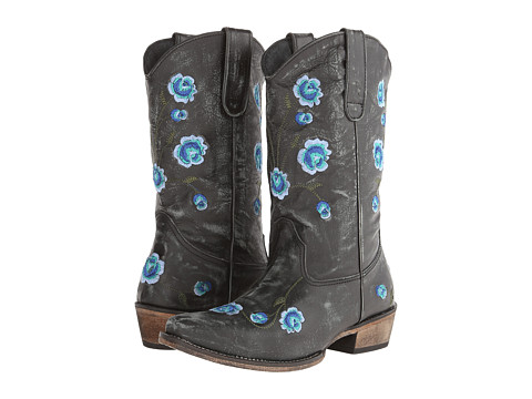 Roper - Brush Off Flower Embroidered Snip Toe Boot (Black/Blue) Cowboy Boots