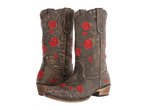 Roper - Brush Off Flower Embroidered Snip Toe Boot (Brown/Red) Cowboy Boots