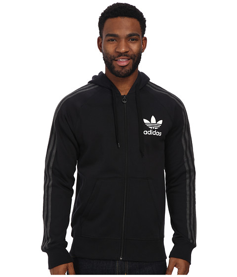 adidas Originals - Sport Essentials Full-Zip Hoodie (Black/White) Men's Sweatshirt