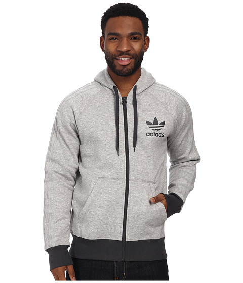 adidas Originals - Sport Essentials Full-Zip Hoodie (Medium Grey Heather/Dark Grey) Men
