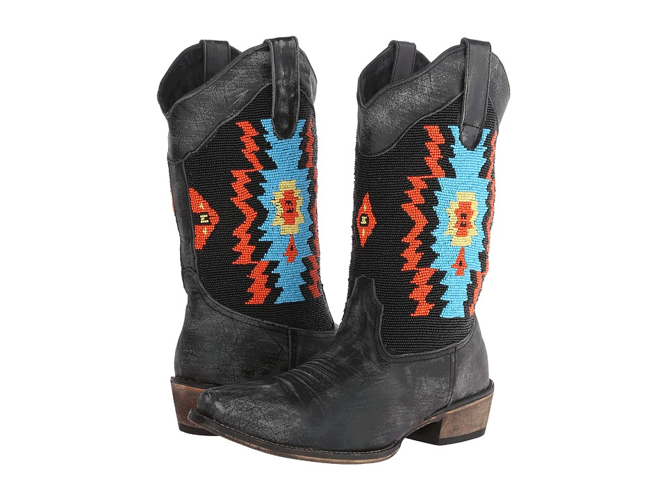 Roper - Southwest Hand Beaded Snip Toe Boot (Black) Cowboy Boots