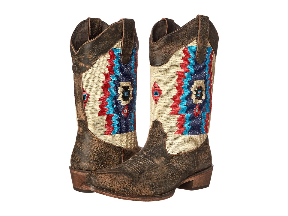 Roper - Southwest Hand Beaded Snip Toe Boot (Brown) Cowboy Boots