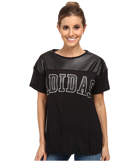 adidas Originals - NY Faux Leather Tee (Black/Black) Women's T Shirt