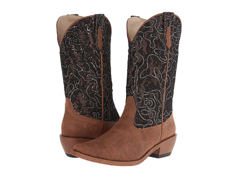 Roper - Glitter and Lace Snip Toe Boot (Brown) Cowboy Boots