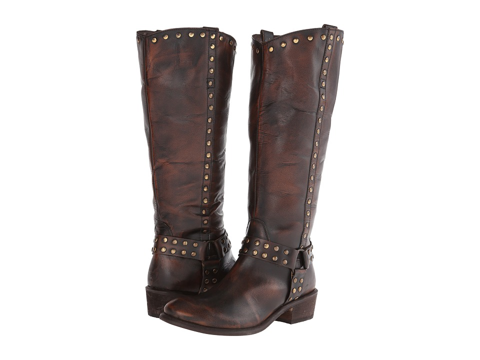 Roper - Studded Harness Riding Boot (Brown) Cowboy Boots