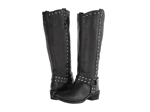Roper - Studded Harness Riding Boot (Black) Cowboy Boots