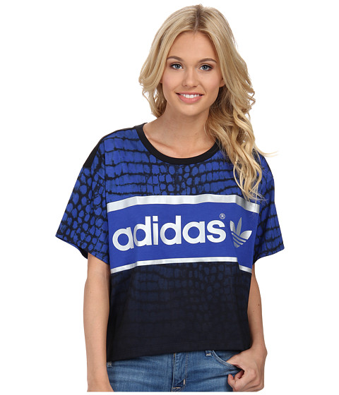 adidas Originals - City Tee (Black/Bold Blue (New York)) Women's Short Sleeve Pullover