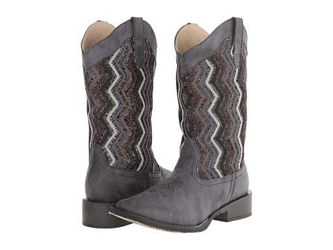 Roper - Glitter Chevron Square Toe Boot (Black) Cowboy Boots