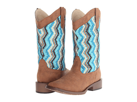 Roper - Glitter Chevron Square Toe Boot (Brown) Cowboy Boots