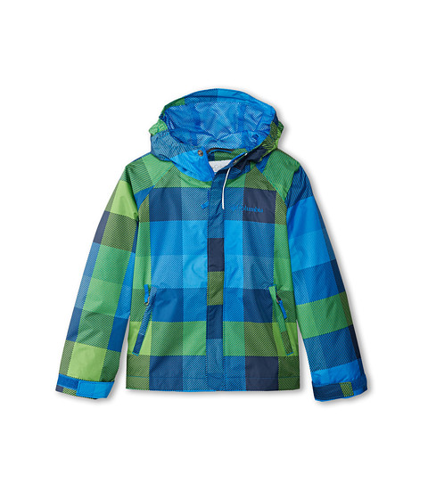 Columbia Kids - Fast Curious Rain Jacket (Little Kids/Big Kids) (Hyper Blue Plaid) Boy