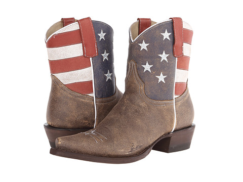 Roper - American Flag Ankle Boot Snip Toe (Brown) Cowboy Boots