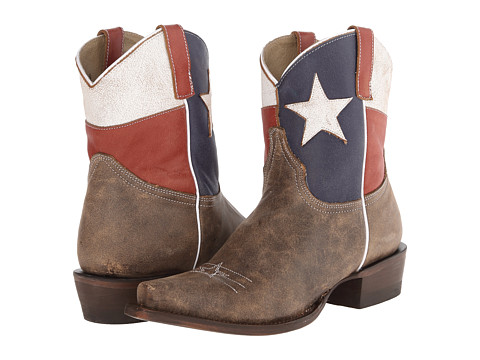 Roper - Texas Star Ankle Boot Snip Toe (Brown) Cowboy Boots