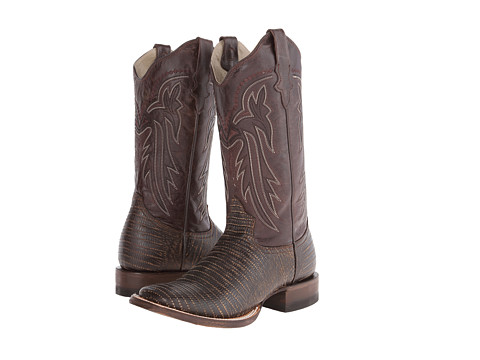 Roper - Embossed Teju Lizard Square Toe Boot (Brown) Cowboy Boots