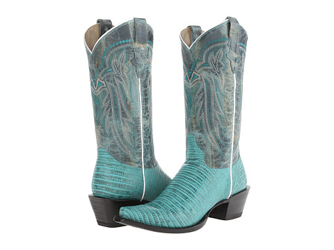 Roper - Embossed Teju Lizard Snip Toe Boot (Turquoise) Cowboy Boots