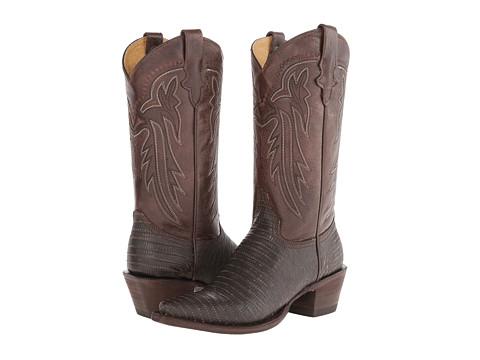 Roper - Embossed Teju Lizard Snip Toe Boot (Brown) Cowboy Boots