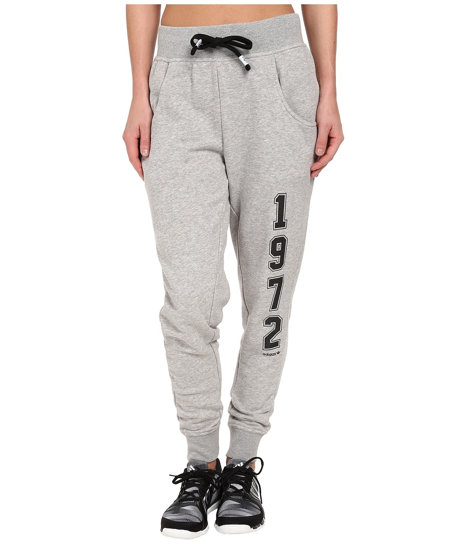 adidas Originals - Super Logo Essential Baggy French Terry Track Pant (Medium Grey Heather/Black) Women