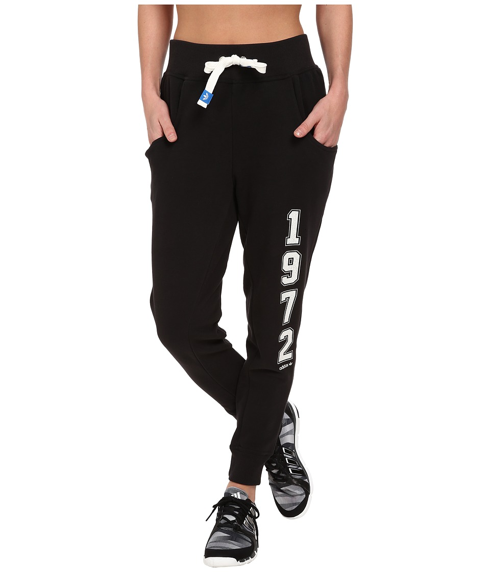 adidas Originals - Super Logo Essential Baggy French Terry Track Pant (Black/White) Women