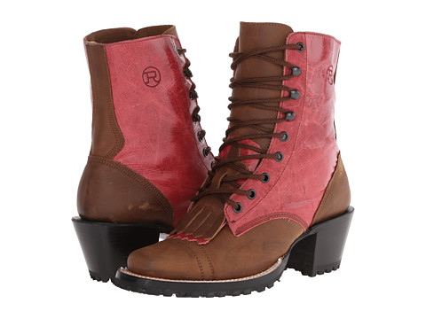 Roper - Distressed Packer Boot (Brown/Pink) Women's Lace-up Boots