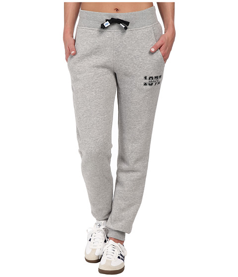 adidas Originals - Super Logo Essential Cuffed Track Pant (Medium Grey Heather/White) Women