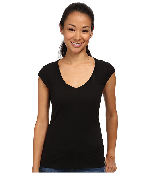 Smartwool - Burnout Combo V-Neck Tee (Black) Women