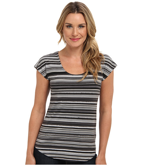 Mod-o-doc - Beach Stripe Cotton Modal Scoopneck Tee (Storm) Women's Short Sleeve Pullover