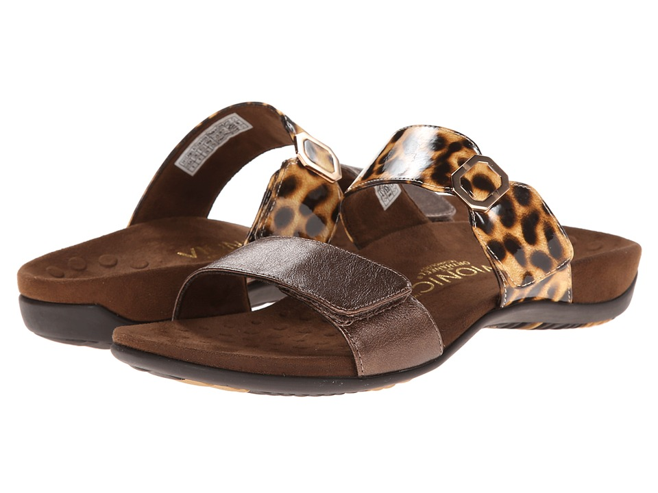 VIONIC with Orthaheel Technology - Camila (Bronze/Tan Leopard) Women's Slide Shoes