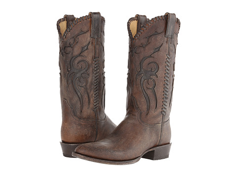 Stetson - Whipstitched Round Toe Boot (Brown) Cowboy Boots