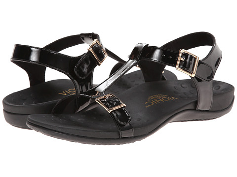 VIONIC with Orthaheel Technology - Adriane (Black Patent) Women's Sandals