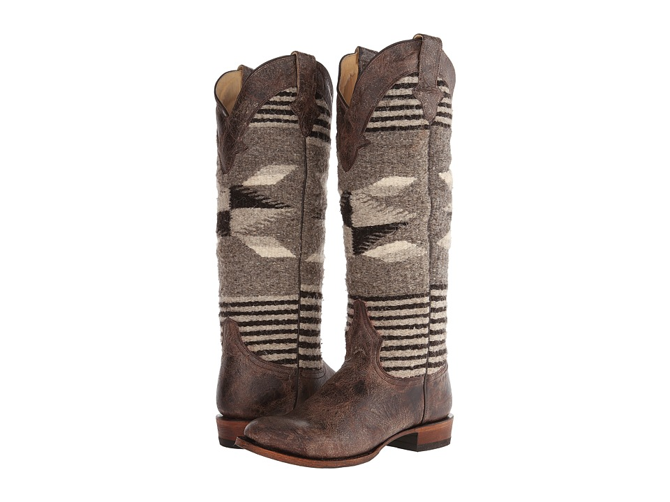 Stetson - Serape Round Toe Boot (Brown) Cowboy Boots
