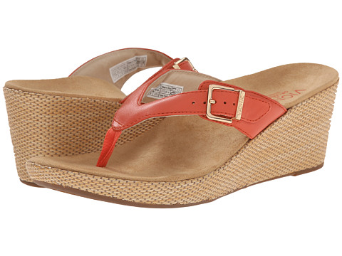 VIONIC with Orthaheel Technology - Polina (Coral) Women's Wedge Shoes