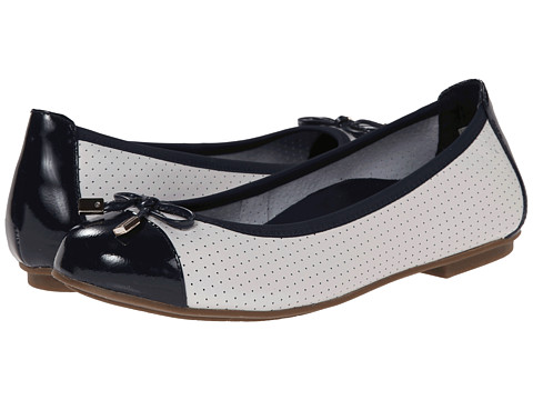VIONIC with Orthaheel Technology - Allora Perf (White/Navy) Women's Flat Shoes