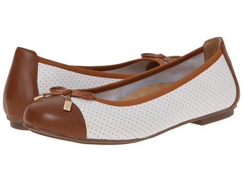 VIONIC with Orthaheel Technology - Allora Perf (White/Tan) Women's Flat Shoes