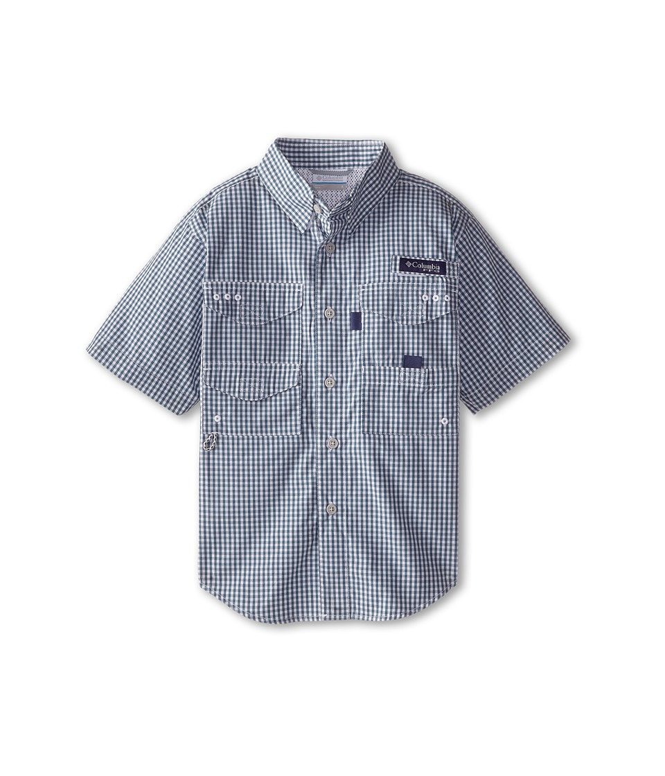 Columbia Kids - Super Bonehead S/S Shirt (Little Kids/Big Kids) (Blue Heron Gingham) Boy's Short Sleeve Button Up