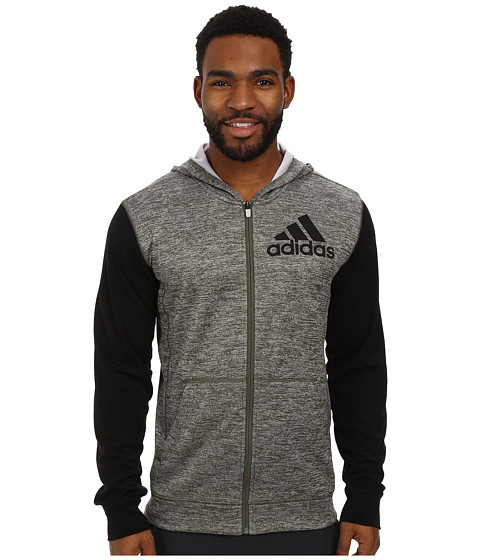 adidas - Team Issue Full-Zip Hoodie (Base Green Heather/Black) Men
