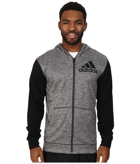 adidas - Team Issue Full-Zip Hoodie (Dark Grey Heather/Black 2) Men's Sweatshirt