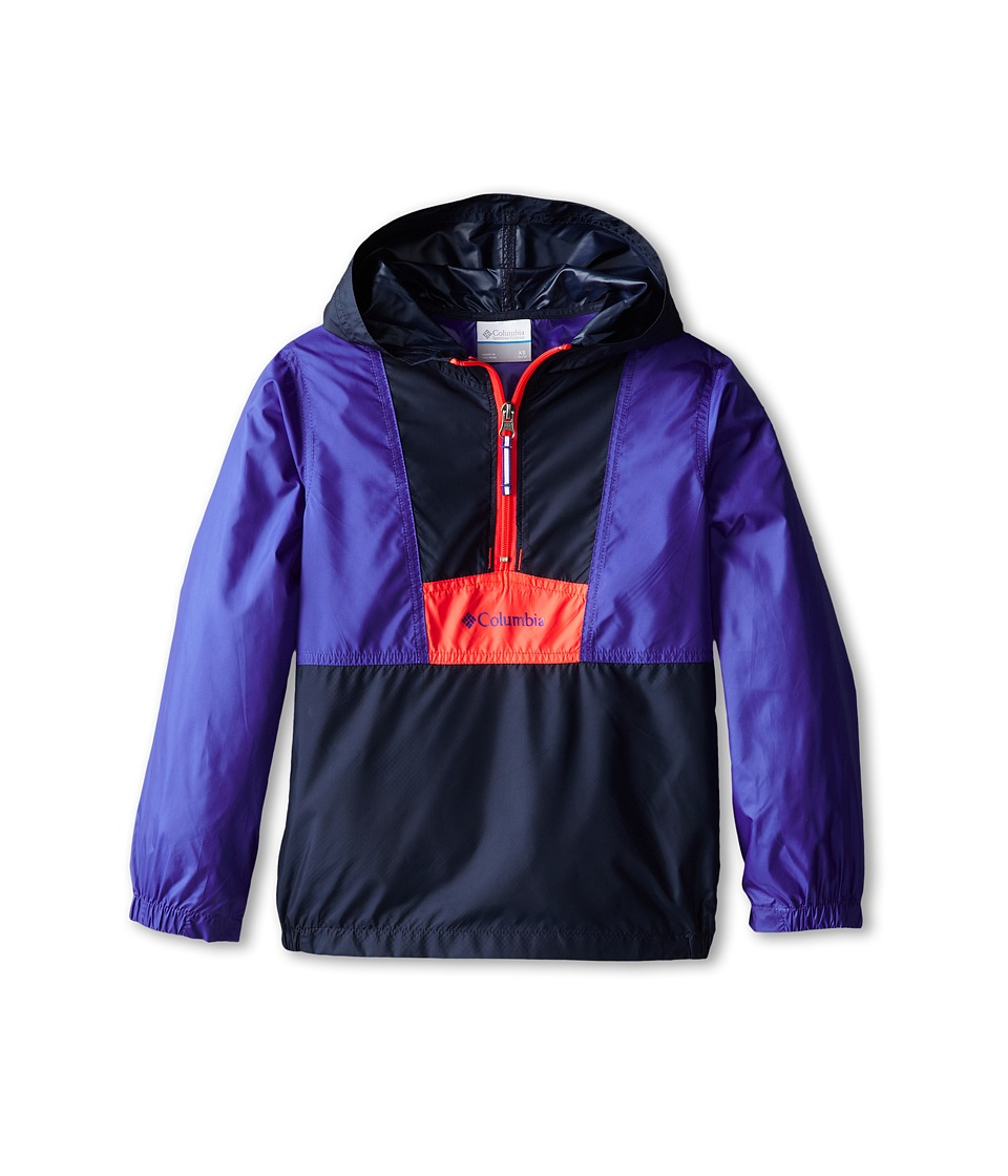 Columbia Kids - Flashback Windbreaker (Little Kids/Big Kids) (Collegiate Navy/Light Grape/Laser Red) Girl's Jacket