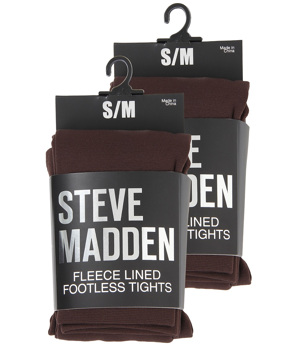 Steve Madden - 2 Pack Fleece Lined Footless Tight (Chocolate) Hose