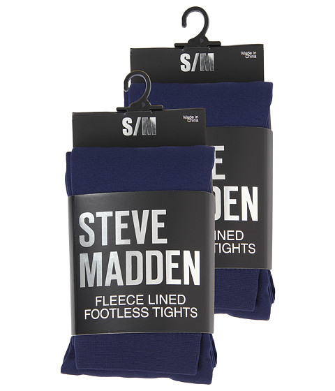 Steve Madden - 2 Pack Fleece Lined Footless Tight (Navy) Hose