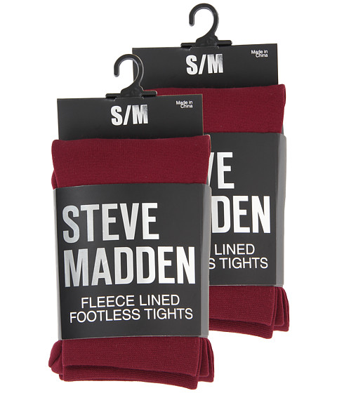 Steve Madden - 2 Pack Fleece Lined Footless Tight (Burgundy) Hose