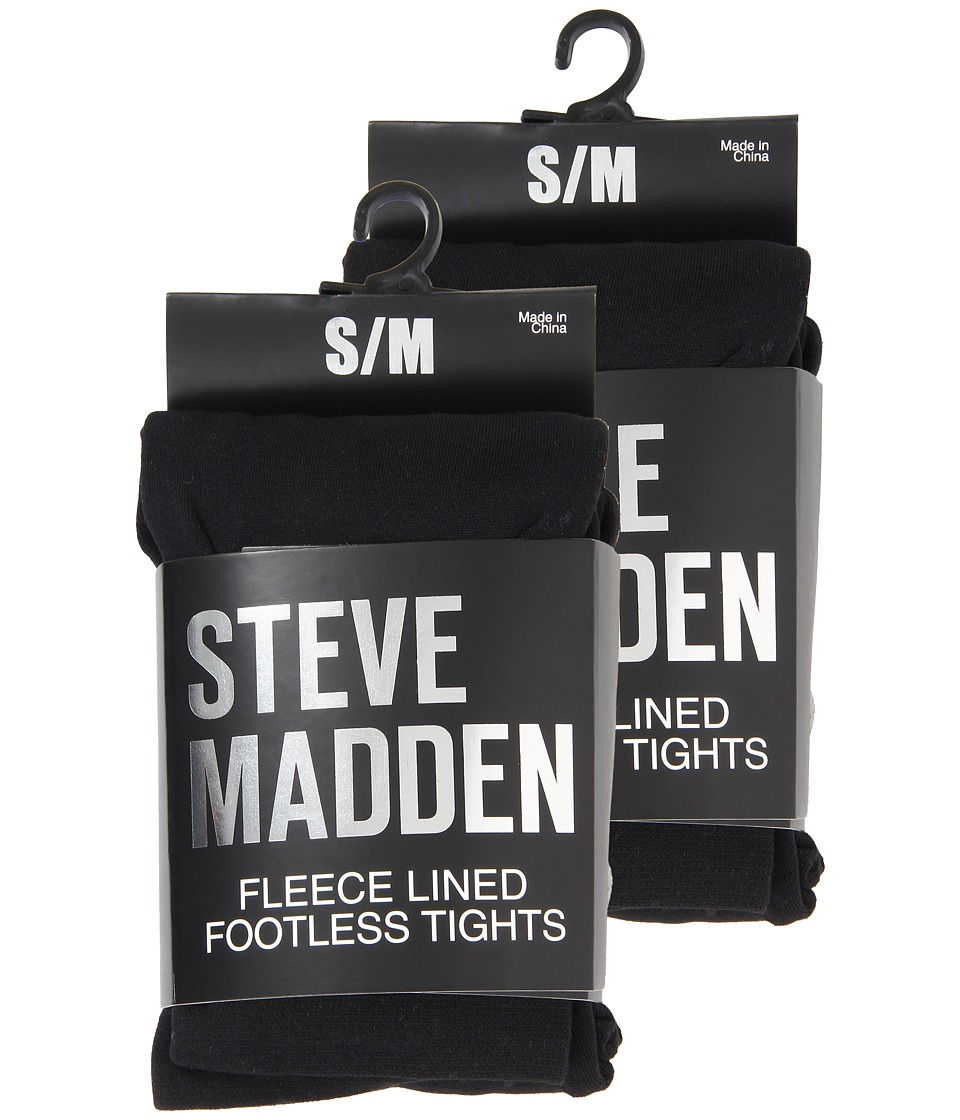 Steve Madden - 2 Pack Fleece Solid and Rib Footless Tight (Black) Hose