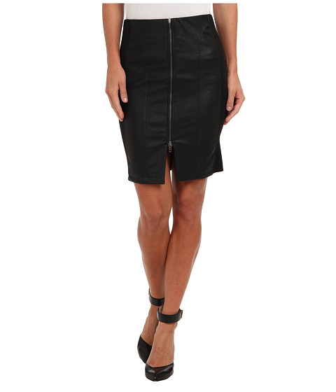 Tbags Los Angeles - Zip Front Faux Leather Pencil Skirt (Coal) Women