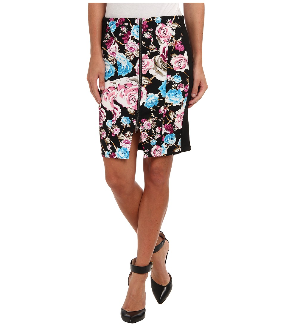 Tbags Los Angeles - Scuba Zip Front Pencil Skirt w/ Black Ponti Cont (ZI1-Print) Women's Skirt